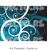 Vector of White and Blue Curling Vines with Little Flowers by KJ Pargeter