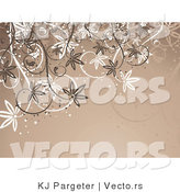 Vector of White and Brown Vines over Brown Background Design by KJ Pargeter
