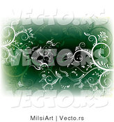 Vector of White and Green Vines and Butterflies - Background with Edges Fading to White by MilsiArt