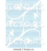 Vector of White Birds and Vines over Blue Patterned Background by Mheld