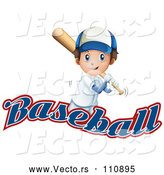 Vector of White Boy Baseball Player Batting over Text by Graphics RF