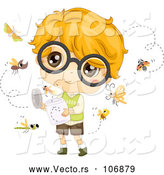 Vector of White Boy with Glasses, Relasing Bugs by BNP Design Studio