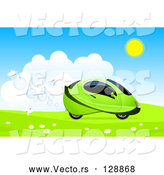 Vector of White Butterflies Behind a Green Hydro Car Driving Through a Meadow by Oligo