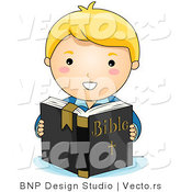Vector of White Christian Boy Reading Holy Bible by BNP Design Studio