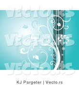 Vector of White Curling Vines over a Blue Background with Green by KJ Pargeter