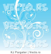 Vector of White Curly Vines over Blue Background by KJ Pargeter