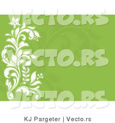 Vector of White Flourishes over Green Background with Blank Copyspace by KJ Pargeter