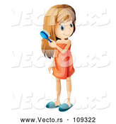 Vector of White Girl Wrapped in a Towel and Brushing Her Hair by Graphics RF