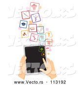 Vector of White Hands Using a Tablet Computer to Search for a Job by BNP Design Studio