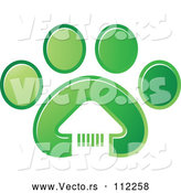 Vector of White House in a Gradient Green Dog Paw Print by Lal Perera