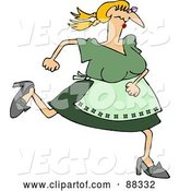 Vector of White Maiden Lady in Green, Running by Djart