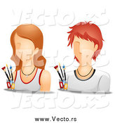 Vector of White Male and Female Artist Avatars by BNP Design Studio