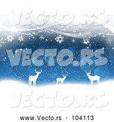 Vector of White Silhouetted Deer with Snowflakes Bokeh and Waves by KJ Pargeter