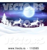 Vector of White Silhouetted Family of Deer Leaping over Snowy Hills and Evergreens Under a Full Moon by AtStockIllustration