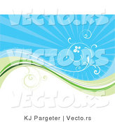 Vector of White Vine Curling Above Green Wave with Blue Background by KJ Pargeter