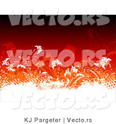 Vector of White Vines and Grunge Designs Composited on Gradient Red Background Design by KJ Pargeter