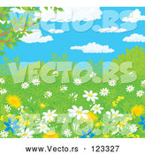 Vector of Wild Daisies and Dandelion Flowers in Spring Growth Under a Blue Cloudy Sky by Alex Bannykh