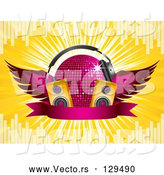 Vector of Winged Pink Purple Disco Ball with Headphones, Speakers and a Banner, on a Yellow Bursting Background with Equalizer Bars by Elaineitalia