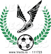 Vector of Winged Soccer Cleat Shoe over a Ball in a Green Wreath by Vector Tradition SM