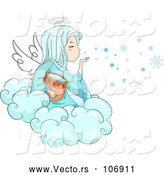 Vector of Winter Angel Girl Blowing Snowflakes from a Cloud by BNP Design Studio