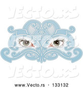 Vector of Woman's Eyes Behind a Blue Face Mask by AtStockIllustration