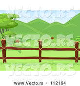 Vector of Wooden Farm Pasture Fence with Lush Green Hills in the Background by BNP Design Studio