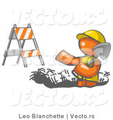 Vector of Working Orange Guy Wearing a Vest and Hardhat Standing in a Hole While Digging with a Shovel in a Construction Zone by Leo Blanchette
