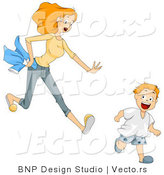 Vector of Worried Cartoon Mom Chasing After Her Running Son by BNP Design Studio
