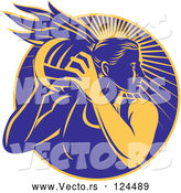 Vector of Yellow and Blue Female Netball Player over Rays by Patrimonio