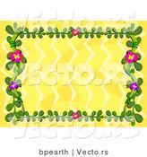 Vector of Yellow Background with a Floral Vines by Bpearth