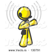 Vector of Yellow Customer Service Representative Taking a Call with a Headset in a Call Center by Leo Blanchette
