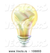 Vector of Yellow Light Bulb with a Book on the Inside by BNP Design Studio