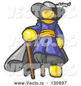 Vector of Yellow Male Pirate with a Cane and a Peg Leg by Leo Blanchette