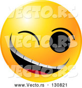 Vector of Yellow Smiley Winking and Grinning While Flirting or Joking by Tonis Pan