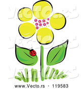 Vector of Yellow Spring Flower and Ladybug by Maria Bell