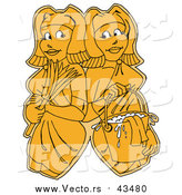 Vector of Yellow Women, Gemini, Maids or Janitors, Wearing Gloves and Carrying a Feather Duster and Mop Bucket, Standing Shoulder to Shoulder by LaffToon
