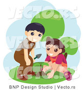 Vector of Young Boy and Girl Planting Seeds by BNP Design Studio
