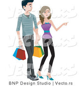 Vector of Young Boy and Girl Shopping with Bags by BNP Design Studio