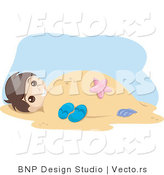 Vector of Young Boy Buried Under Warm Beach Sand by BNP Design Studio
