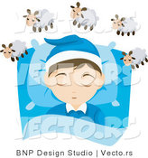 Vector of Young Boy Counting Sheep While Asleep in His Bedroom by BNP Design Studio