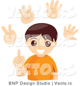Vector of Young Boy Counting with His Fingers - Digital Collage Sheet with Extra Hands by BNP Design Studio