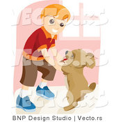 Vector of Young Boy Dancing with Dog by BNP Design Studio