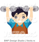 Vector of Young Boy Lifting Dumbbell Weights by BNP Design Studio