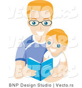 Vector of Young Boy Reading a Book with His Dad by BNP Design Studio