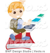 Vector of Young Boy Running on a School Book Path by BNP Design Studio