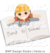 Vector of Young Boy Standing on Top of an Open Back to School Book by BNP Design Studio
