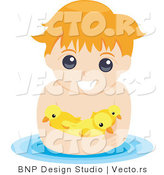Vector of Young Boy Swimming with Rubber Ducks by BNP Design Studio