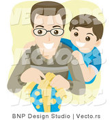 Vector of Young Boy Watching His Dad Open a Wrapped Present by BNP Design Studio