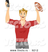 Vector of Young Cartoon Man Holding Football and Remote Control by BNP Design Studio