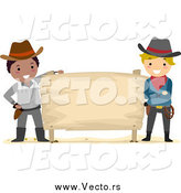 Vector of Young Cowboys with a Blank Sign by BNP Design Studio